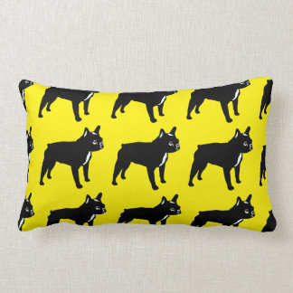 French Bulldog in black on yellow Lumbar Pillow