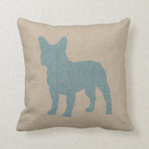 French Bulldog in Blue on Linen Look Throw Pillow