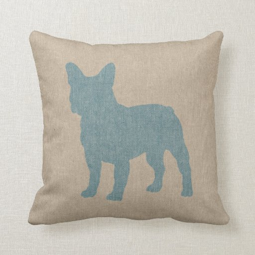 French Blue Throw Pillows : French Bulldog in Blue on Linen Look Throw Pillow Zazzle