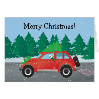 French Bulldog in Christmas Car with tree on top Card