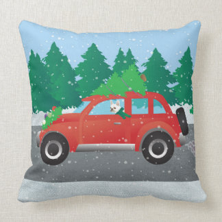 French Bulldog in Christmas Car with tree on top Throw Pillow