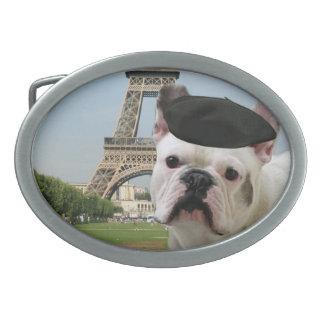 French Bulldog in paris Belt Buckles