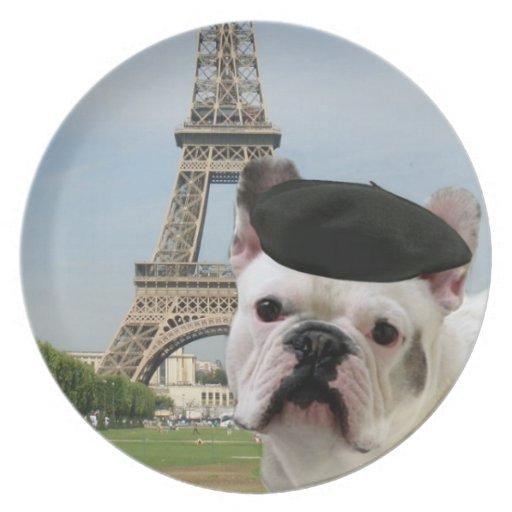 French bulldog in Paris Dinner Plates