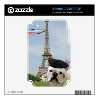 French bulldog in Paris iphone 2G/3G/3GS skin Skin For iPhone 3