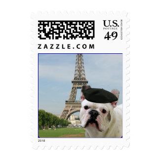 French Bulldog in Paris Postage Stamp