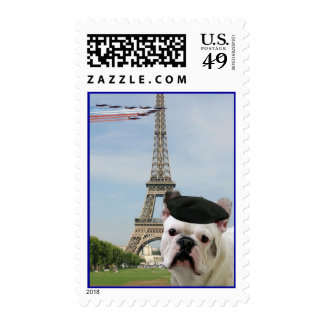French Bulldog in Paris Postage Stamps