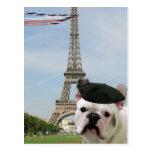 French Bulldog in Paris postcard