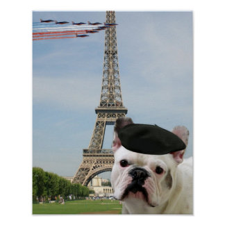 French bulldog in Paris Poster