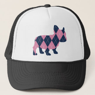 French Bulldog in Pink and Blue Argyle Trucker Hat