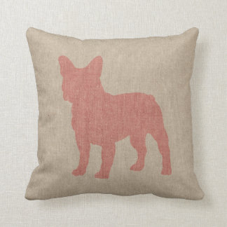 French Bulldog in Pink on Linen Look Throw Pillow