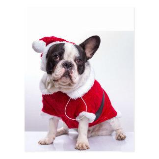 French Bulldog In Santa Costume For Christmas Postcard