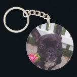 """French Bulldog Keychain<br><div class=""""desc"""">It&#39;s me,  Dexter the Dogster! You&#39;ll lose track of your keys again when my cute mug is attached to them!</div>"""