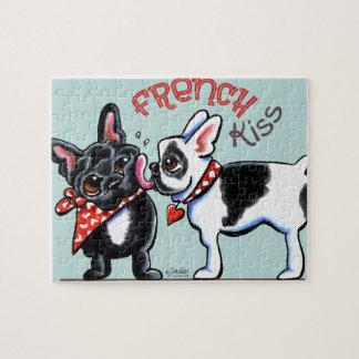 French Bulldog Kiss Jigsaw Puzzle