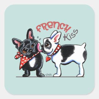 French Bulldog Kiss Square Sticker
