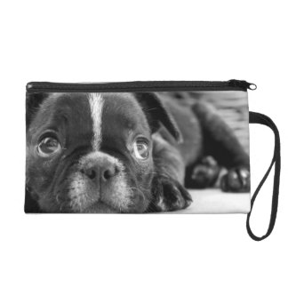 French bulldog look wristlet purse
