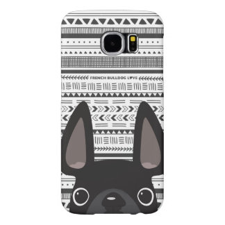 French Bulldog Love Geo Case Black Mono