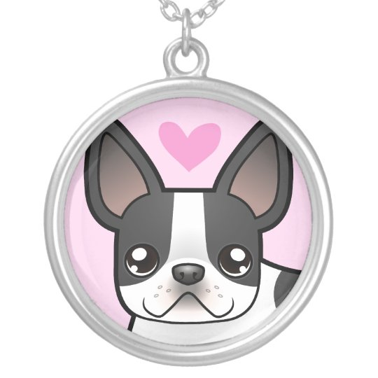 French Bulldog Love Silver Plated Necklace