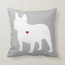 French Bulldog Lover Heart Pet Throw Pillow