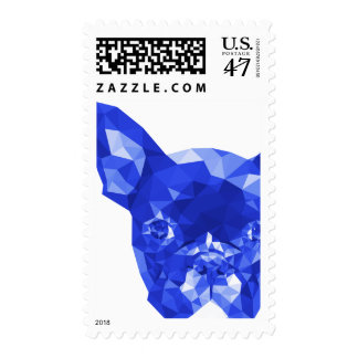 French Bulldog Low Poly Art in Blue Postage