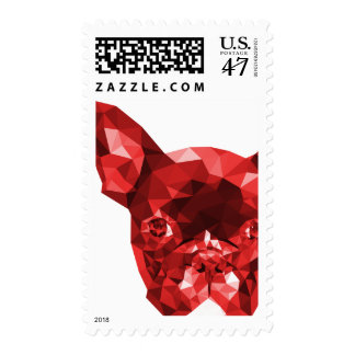 French Bulldog Low Poly Art in Red Postage
