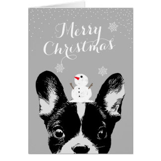 French Bulldog Merry Christmas Silver Holiday Card