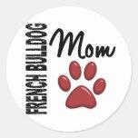 French Bulldog Mom 2 Round Stickers