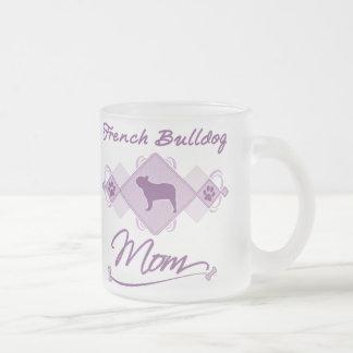 French Bulldog Mom Frosted Glass Coffee Mug