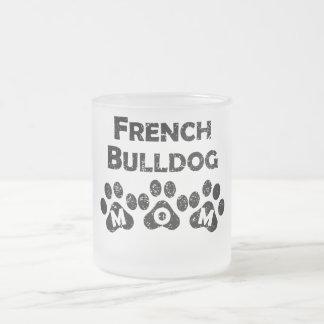 French Bulldog Mom 10 Oz Frosted Glass Coffee Mug