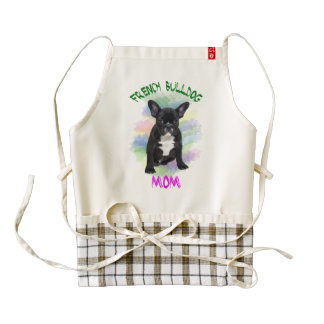 French Bulldog Mom Water Color Oil Painting Art Zazzle HEART Apron