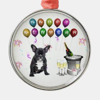 French Bulldog New Year Metal Ornament