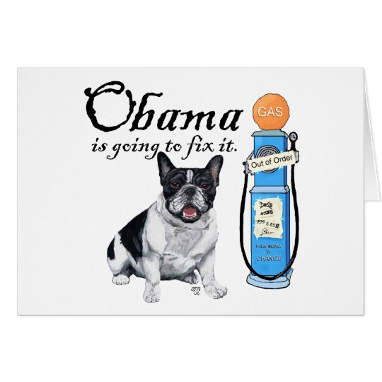 French Bulldog Obama Gas Prices Card