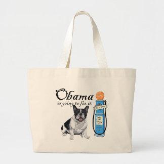 French Bulldog Obama Gas Prices Large Tote Bag
