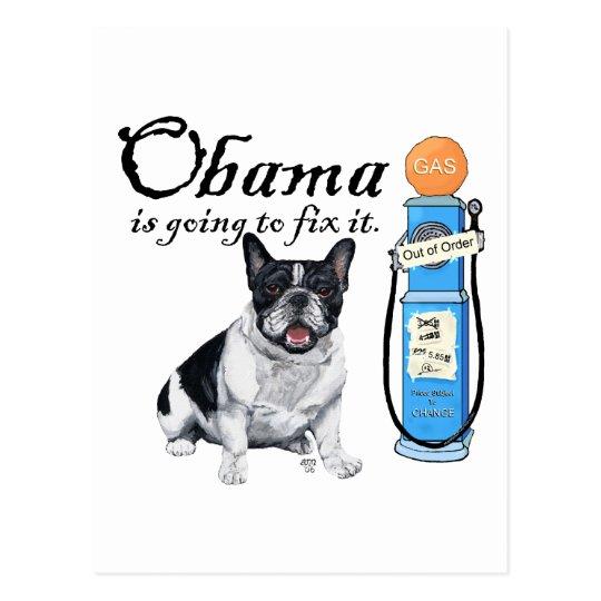 French Bulldog Obama Gas Prices Postcard