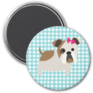 French Bulldog on Blue and White Gingham Design 3 Inch Round Magnet