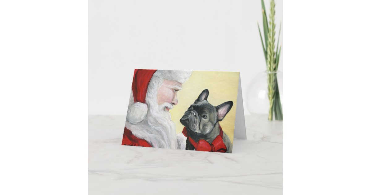 French Bulldog on Santa\'s Lap\