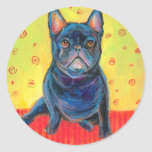 french bulldog painting 2 svetlana novikova round stickers
