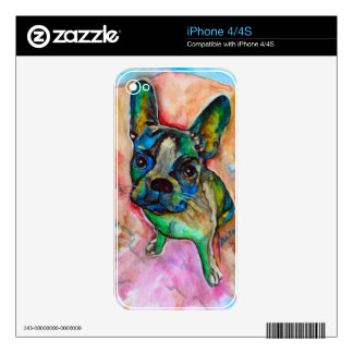 FRENCH BULLDOG PAINTING SKIN FOR THE iPhone 4