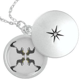 French Bulldog Pattern Round Locket Necklace