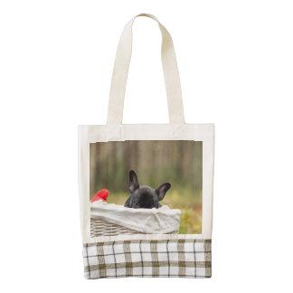 french bulldog peeking puppy zazzle HEART tote bag