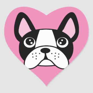 French Bulldog Pink Heart Stickers