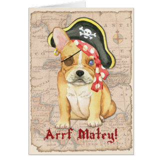 French Bulldog Pirate Card