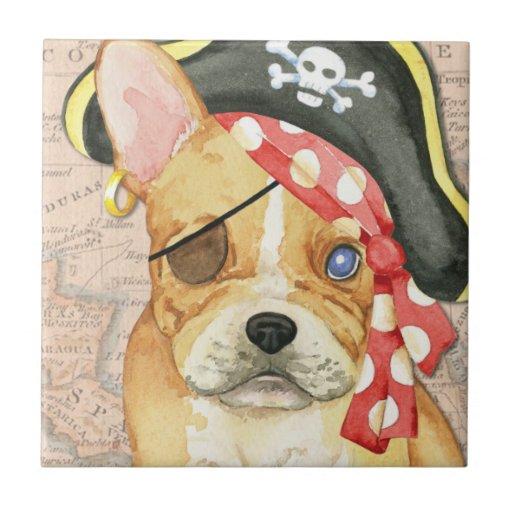 French Bulldog Pirate Ceramic Tile