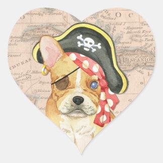 French Bulldog Pirate Heart Sticker