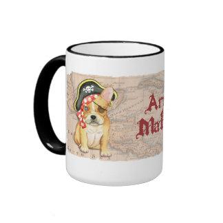 French Bulldog Pirate Ringer Coffee Mug