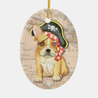 French Bulldog Pirate Double-Sided Oval Ceramic Christmas Ornament