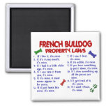 FRENCH BULLDOG Property Laws 2 2 Inch Square Magnet