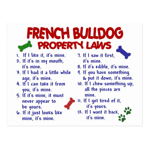 FRENCH BULLDOG Property Laws 2 Post Cards