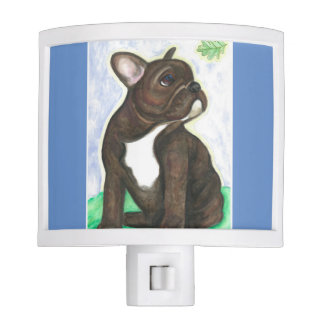 French Bulldog pup night light with leaf
