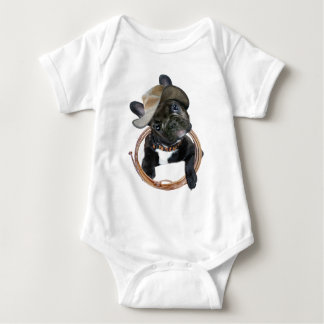 FRENCH BULLDOG PUP WEARS LASSO BABY BODYSUIT
