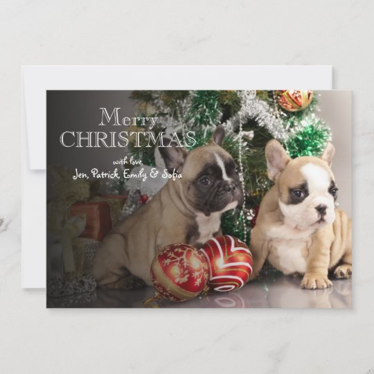 French bulldog puppy and Christmas gifts Holiday Card | Zazzle.com
